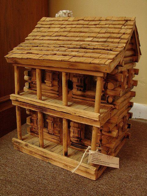 Handmade Rustic Log Cabin Bird House Birdhouse 65 For