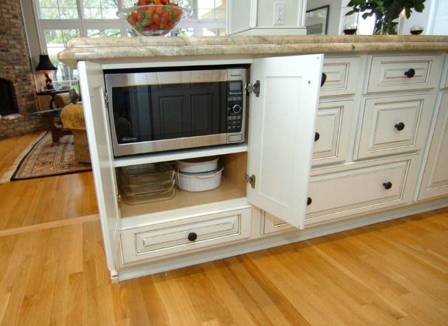Hidden Microwave Behind Doors In Island Microwave In Kitchen Kitchen Design Kitchen Remodel