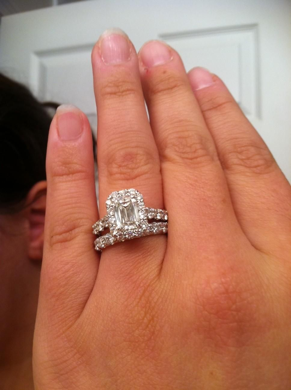 Emerald Cut Diamond Engagement Ring With Baguettes And Halo Images 3 Carat  34