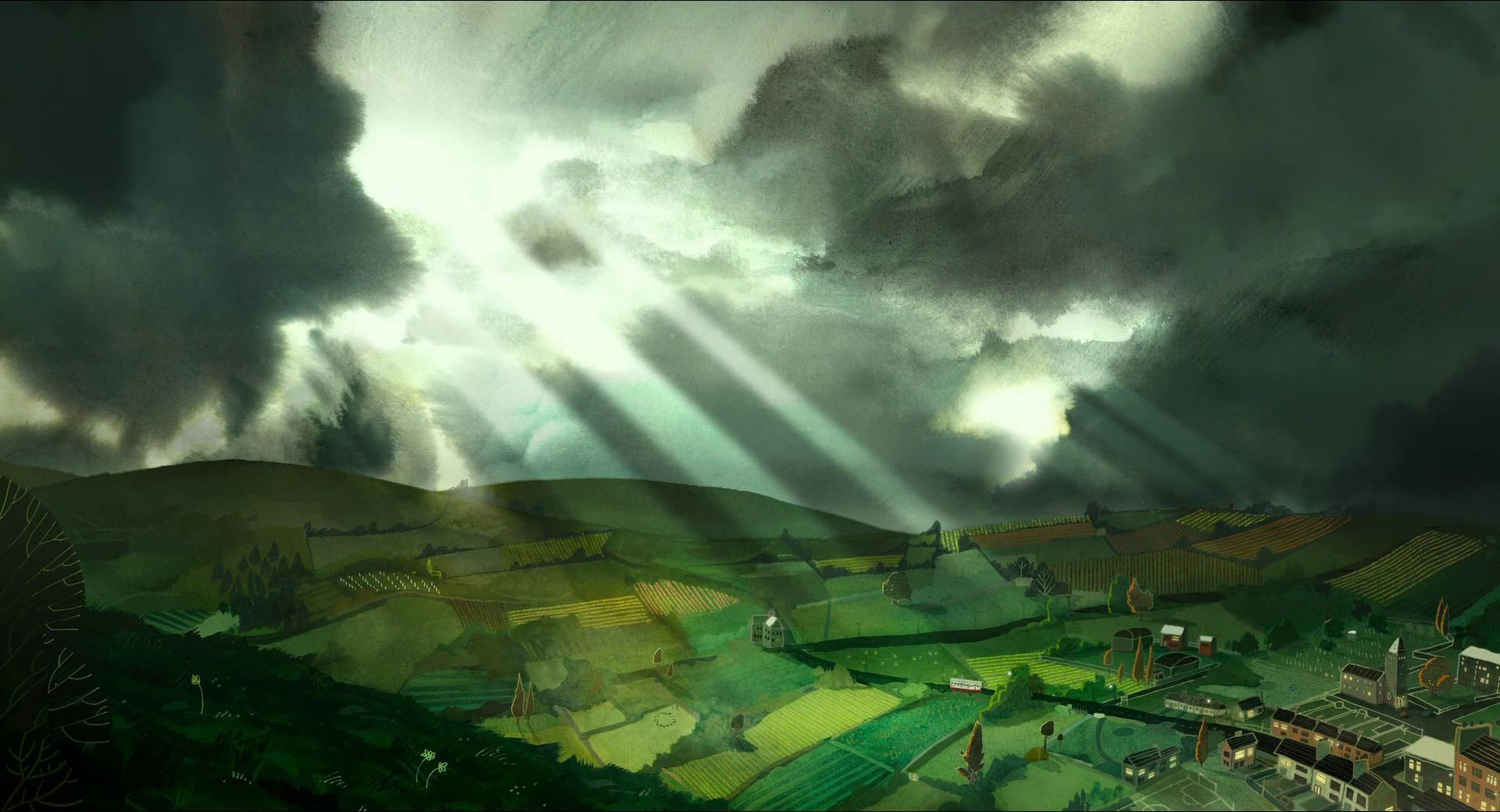 Still Of Song Of The Sea When Ben And Sersha Are Riding Through The Valley With Their Grandmother And The Rays Of The Suns Are Trying T Song Of The Sea