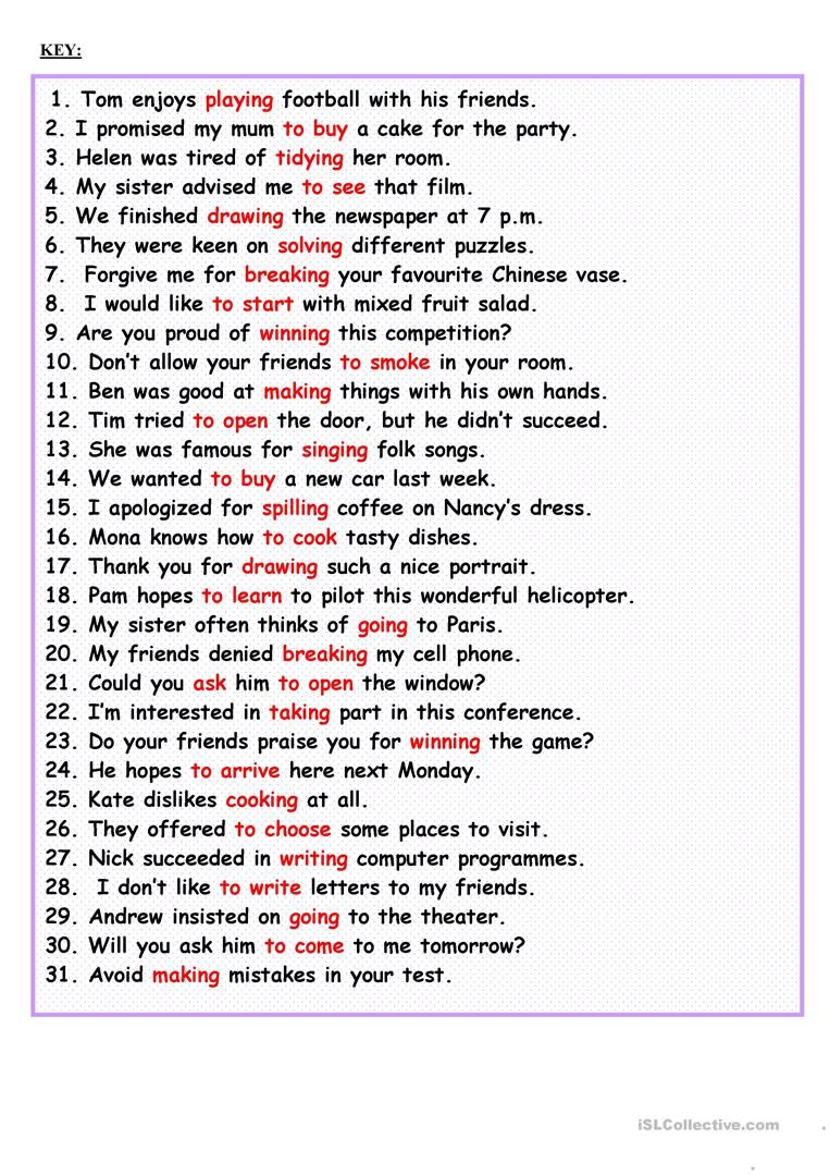 Gerund or Infinitive worksheet Free ESL printable worksheets – Infinitive Worksheets