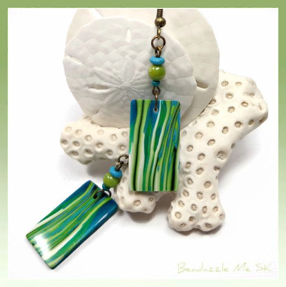 Shades of Green Dangle Earrings handmade jewelry by BeadazzleMe, $16.00