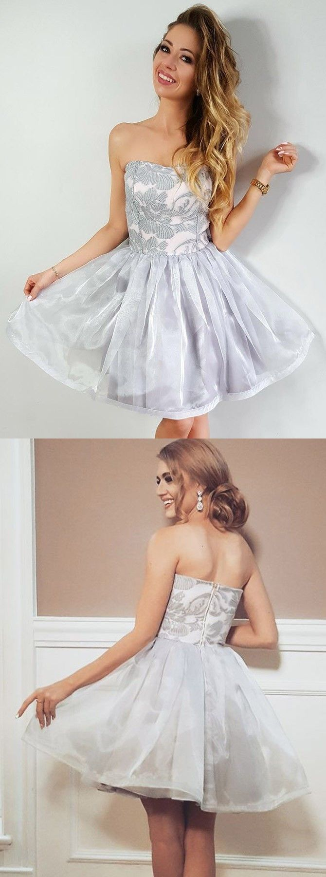 Aline strapless short organza homecoming party dress with appliques