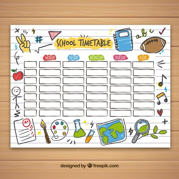 School Timetable Template With Hand Drawn School Objects Free