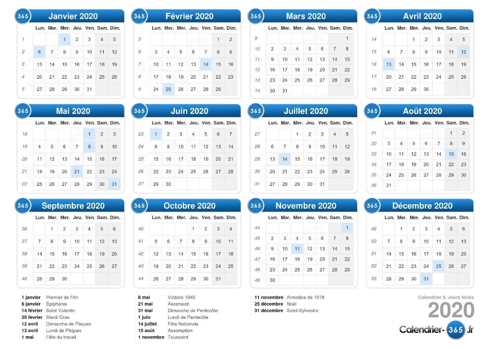 Calendrier 2020 | Calendrier imprimable, Modèles de calendrier