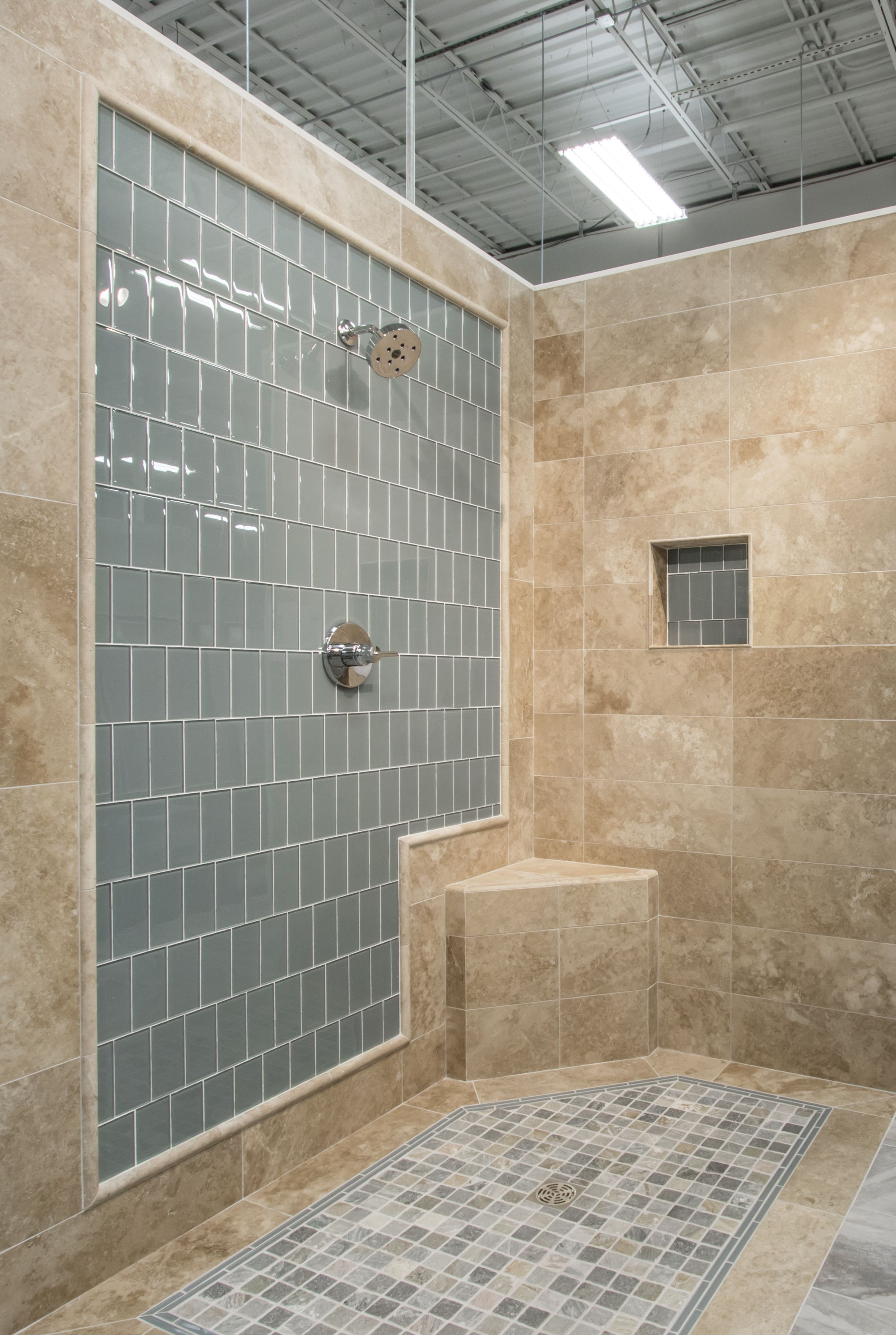 Enhance Traditional And Contemporary Settings With The Soothing Aquamarine  Hue Of This Glass Focal Point Bathroom Shower Tile   Water Glass Subway  Tile ...