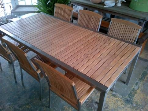 Teak Dining Table With Stainless Steel Frame Teak Dining Table