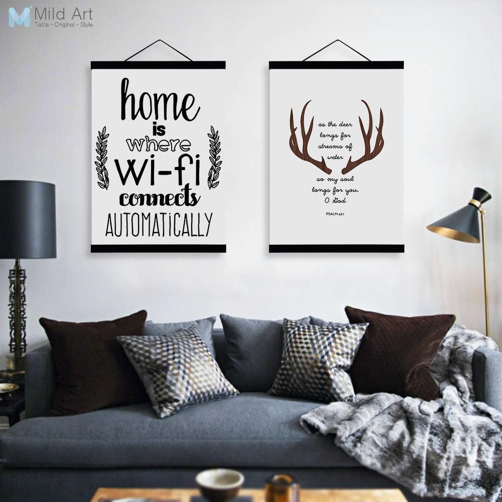 Abstract Deer Head WIFI Quotes Wooden Framed Canvas Paintings Modern ...