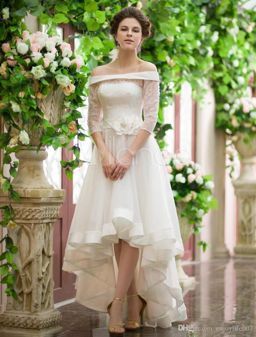 Fashion sleeve high low wedding dresses lace ball long off
