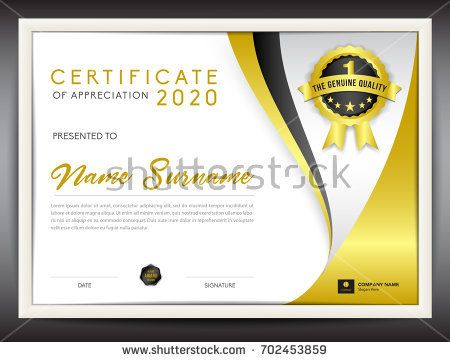 Certificate Template Vector Illustration, Diploma Layout In A4 Size, Gold  Business Flyer Design,  Certificate Layout