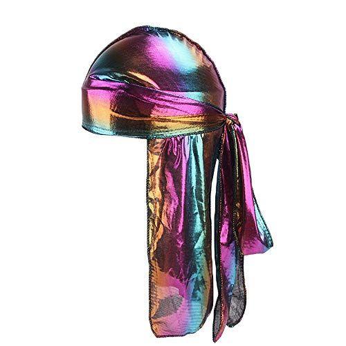 Fenleo Holographic Laser Silky Long Tail 360,540,720 Waves Durag Bandana Turban