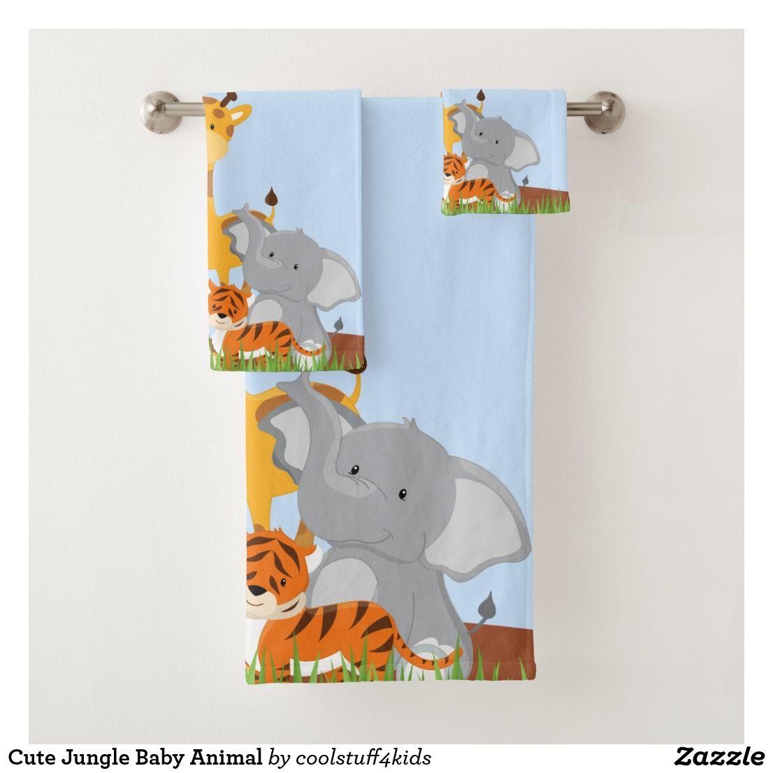 Cute Jungle Baby Animal Bath Towel Set Zazzle Com Towel Set