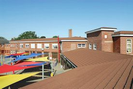 Lightweight Steel Roof Tile Flat To Pitched Roof Conversion Mosspits School Decra Roof Systems Roofing Systems Pitched Roof Flat Roof