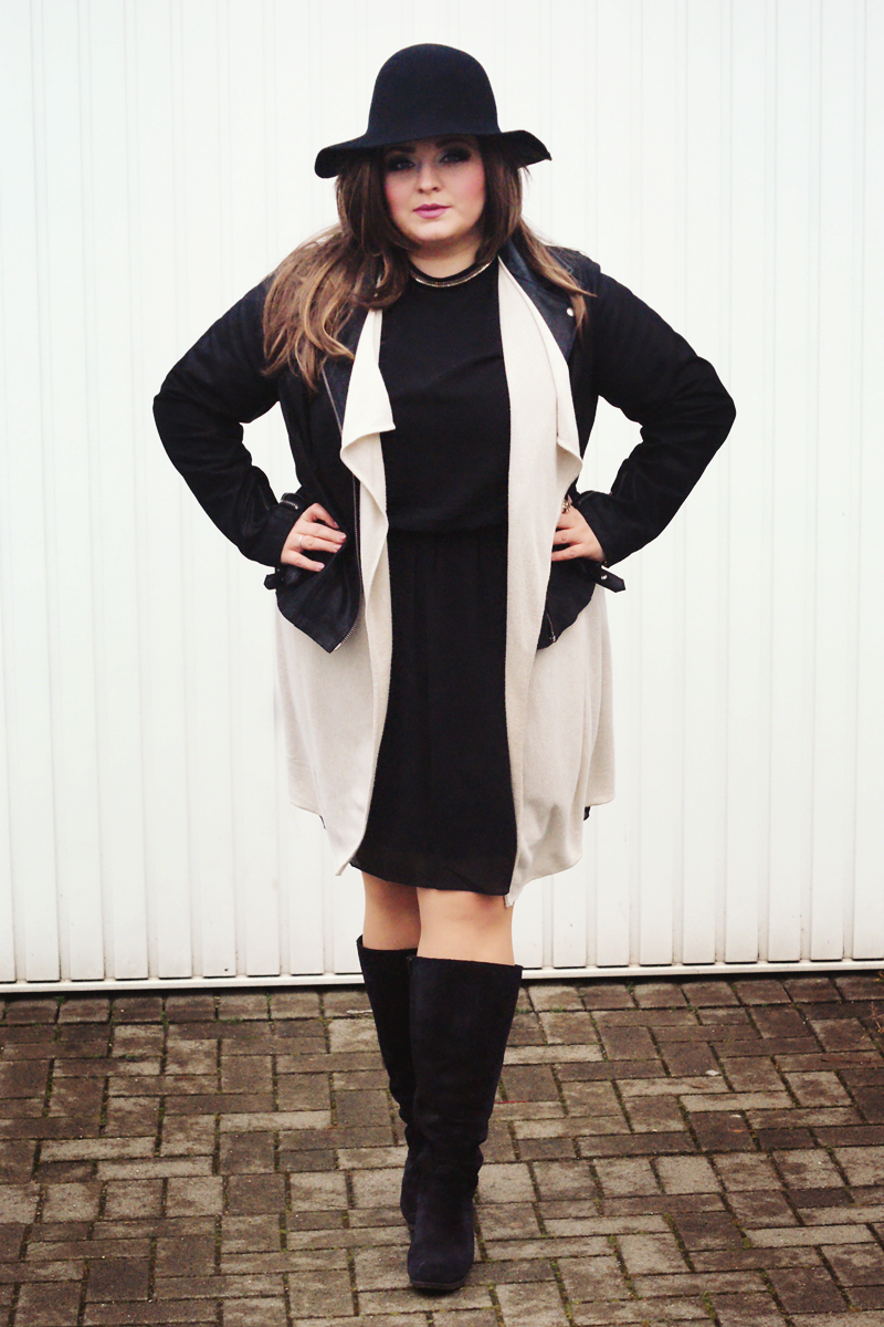 leather jacket and elegant dress combination in plus size