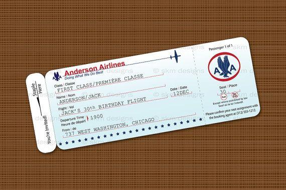 Old school Plane ticket invite Everything Pinterest Airplane