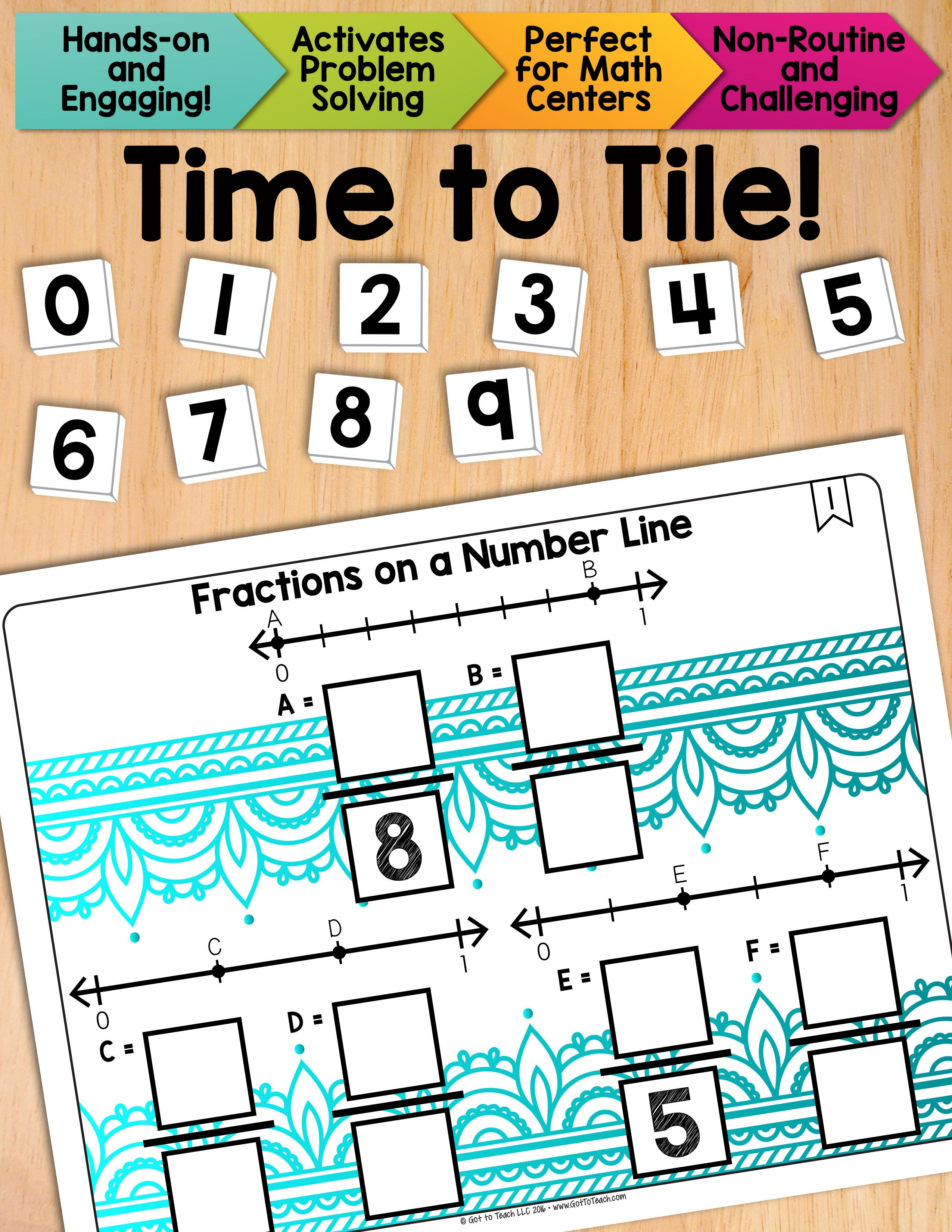 Math Tiles Fractions On A Number Line Math Centers