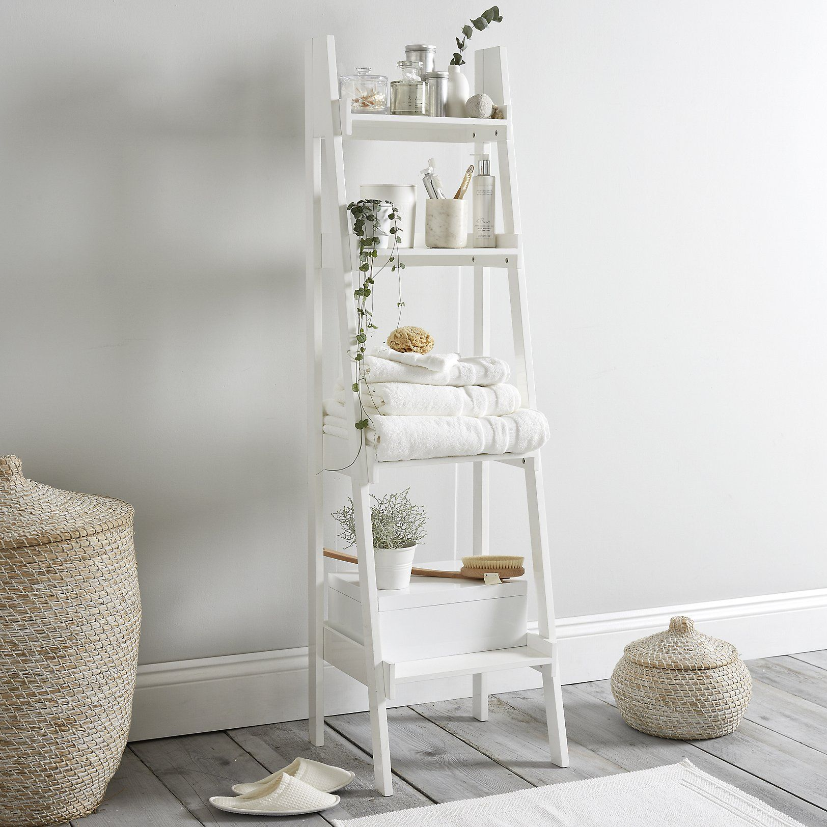 Lacquer Bathroom Ladder Shelf Stocked Made To Order Furniture Furniture Home The White Co Bathroom Ladder Bathroom Storage Ladder Bathroom Ladder Shelf