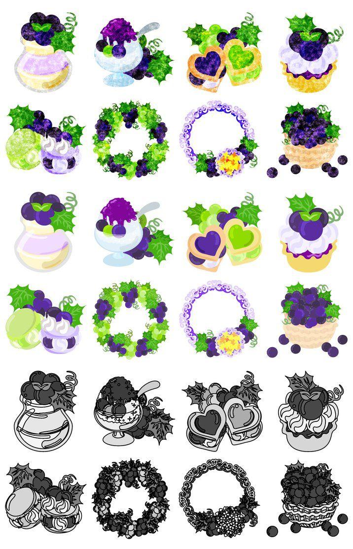 フリーのアイコン素材The cute icons of grapes by atelier-bw  ダウンロードはこちらから  The downloading from this.