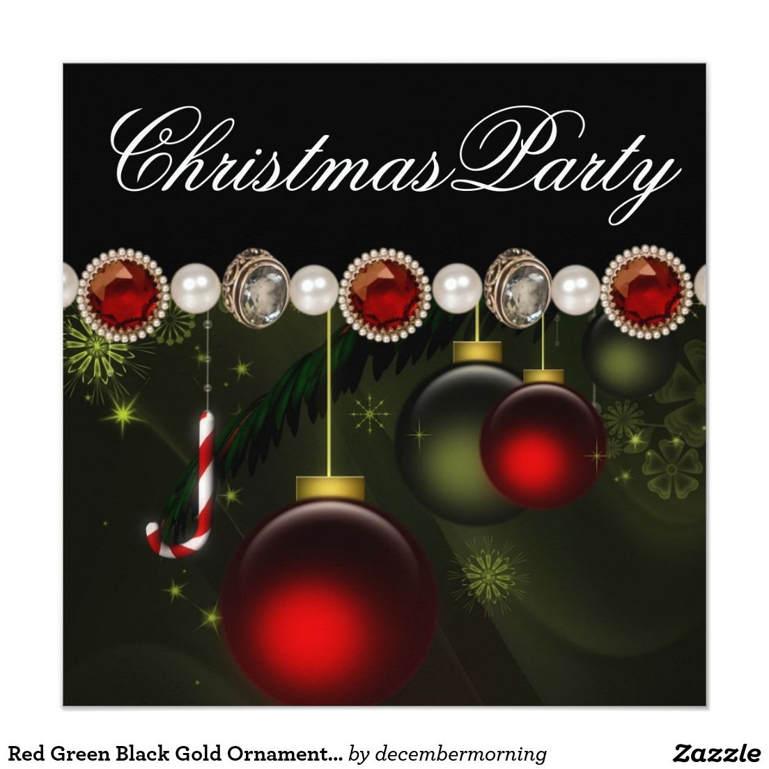 Red Green Black Gold OrnamentsChristmas Party Card | Red green ...