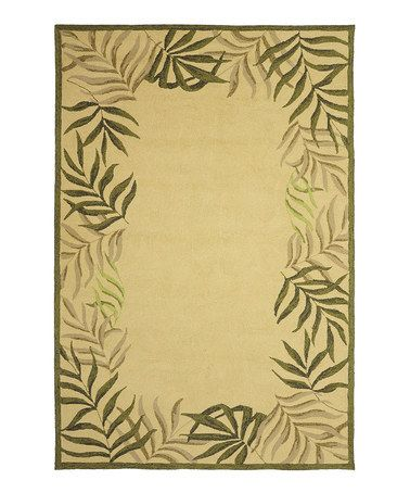 Khaki Amp Green Palm Frame Indoor Outdoor Rug By Villa Home