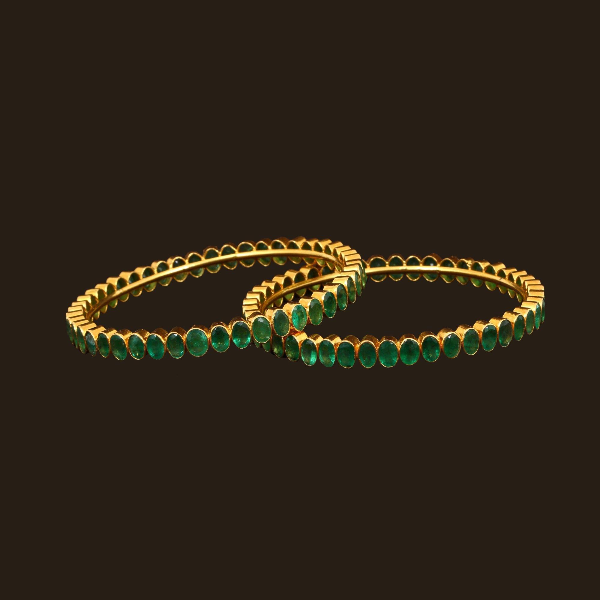 Emerald bangles 101a1302 gold bangles design gold