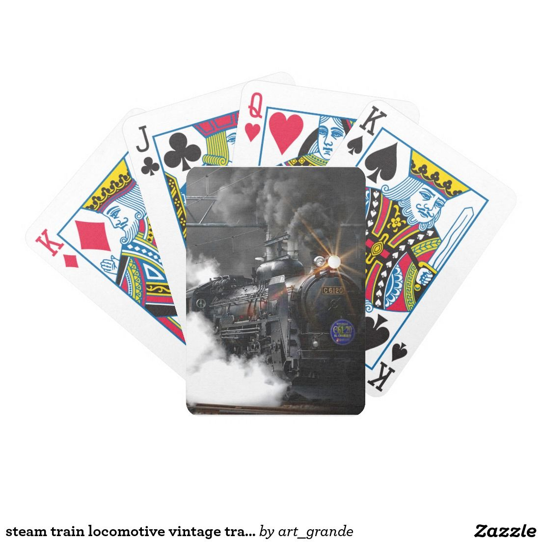 steam train locomotive vintage transport bicycle playing cards