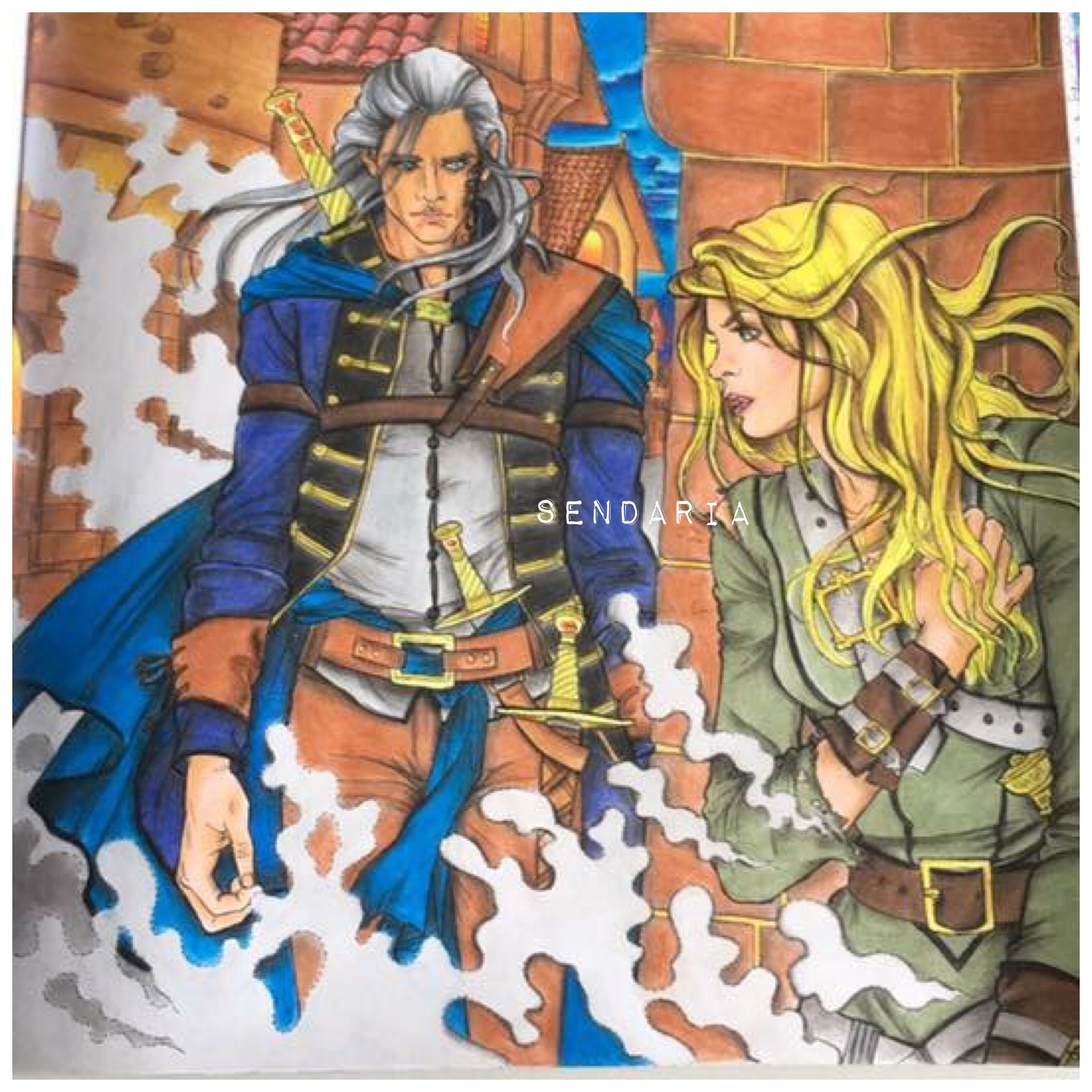 Rowan And Celaena Throne Of Glass Colouring Book Coloured By