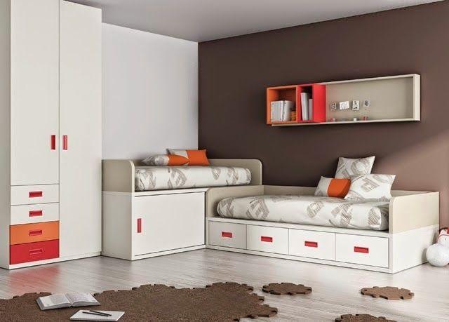 Habitacion con camas cruzadas ideas para dormitorios for Habitacion 3 camas