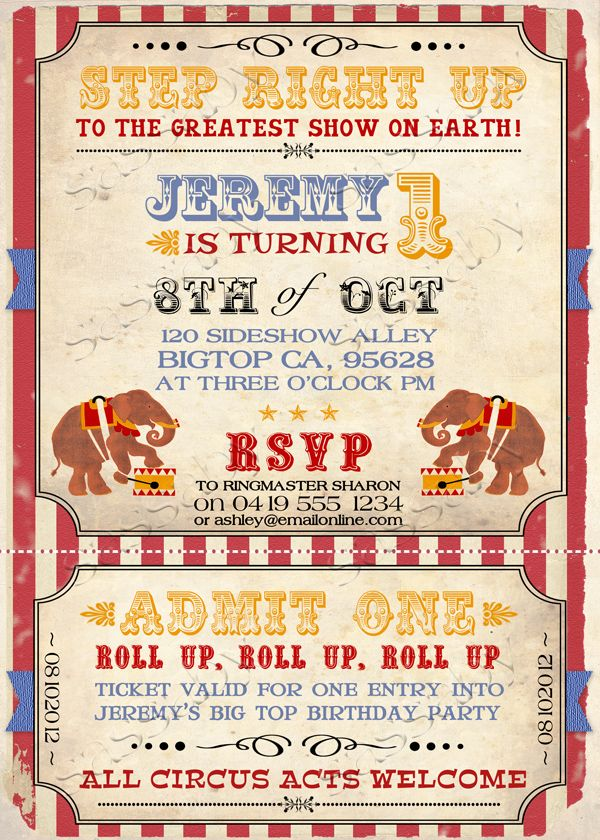 Vintage Circus Invitation | Christmas australia and Circus invitations