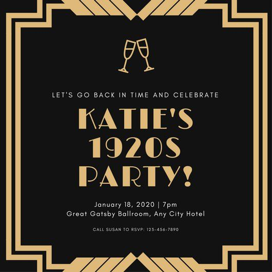 Gold And Black Bordered 1920s Party Invitation 1920s Party Invitations Party Invite Template Christmas Party Invitation Template