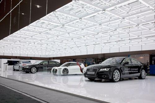"Fascinating lighting matrix. Nc. CES  AUDI - messestand Las Vegas, USA Design by ""a.g. Licht"" Bonn, Germany #lightdesign #architecture #nikohlcadeauinteriors"