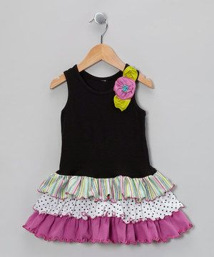 This Black Flower Ruffle Drop-Waist Dress - Toddler & Girls by Mulberribush is perfect! #zulilyfinds
