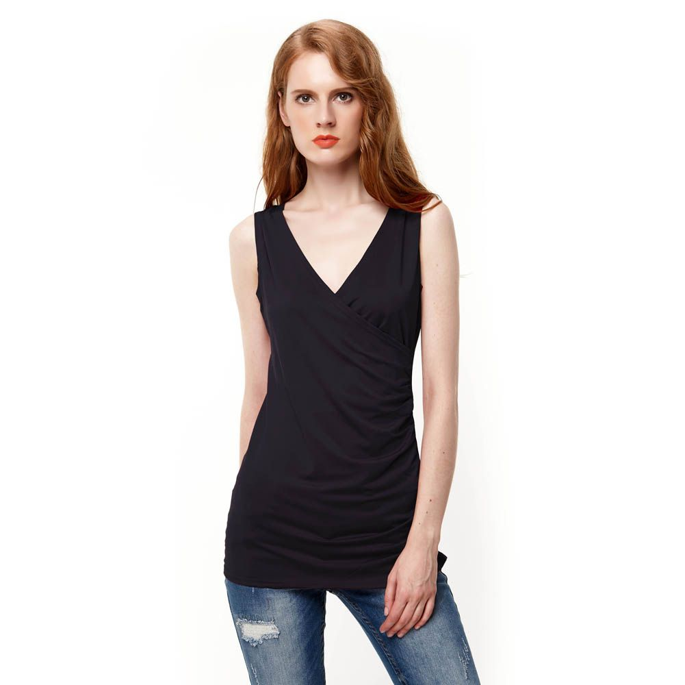 >> Click to Buy << 2017 New Europe American Style Sexy Women's Tops Deep V-Neck Ruched Side Tee Shirts Summer Casual Sleeveless T-Shirt #Affiliate