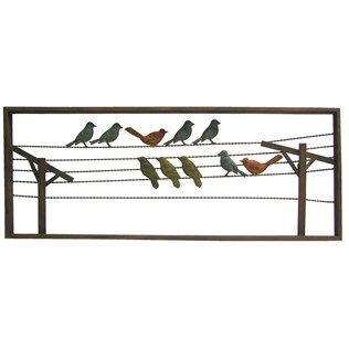 Multi Color Birds on Wire Metal Wall Decor | Shop Hobby ... on Hobby Lobby Outdoor Wall Decor Metal id=84082