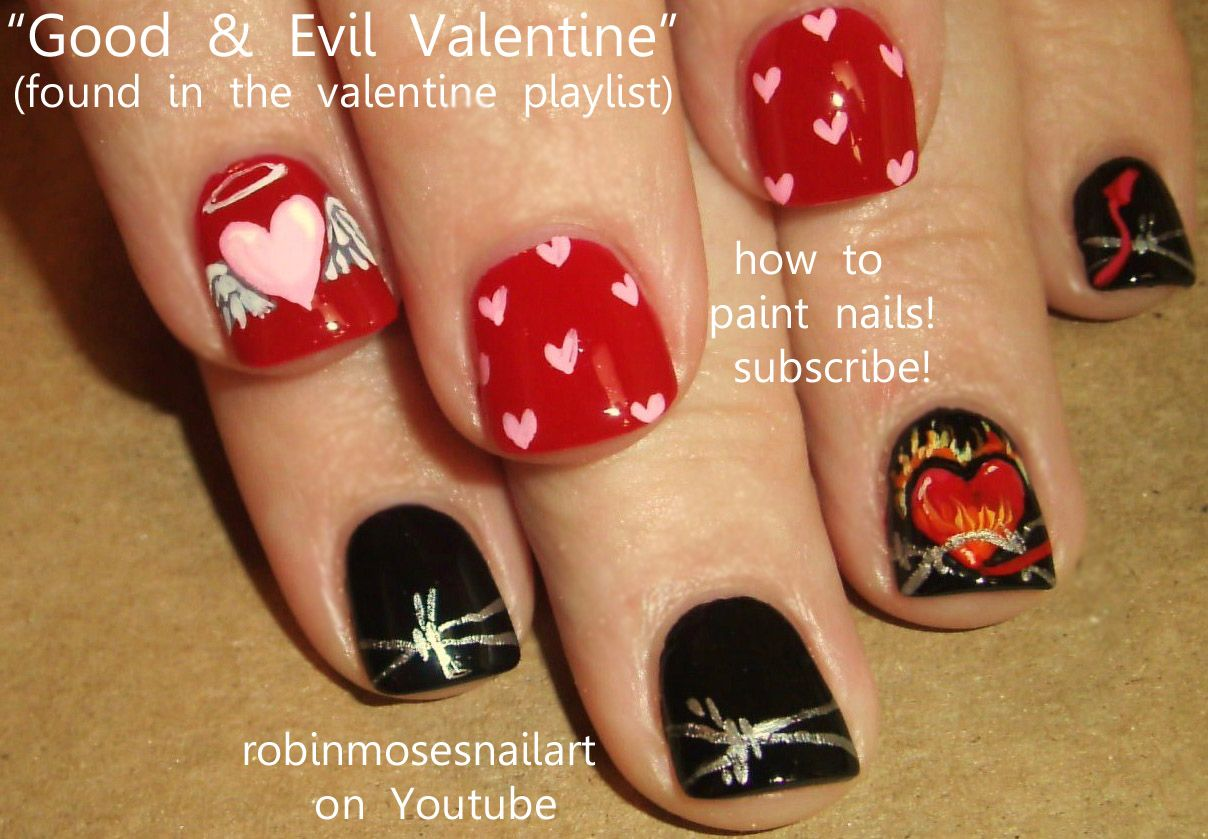 angel nails art | ... nails, angel and devil heart, angel and devil ...
