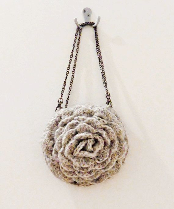PDF CROCHET PATTERN    Bag Ruffled Chic - grey unique beautiful feminine crocheted gray rose Anthropologie inspired flower purse