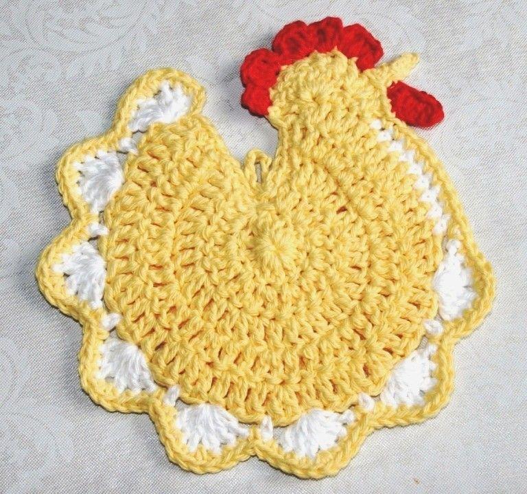 Yellow Chicken Crochet Pot Holder | crochet | Pinterest | Topflappen ...