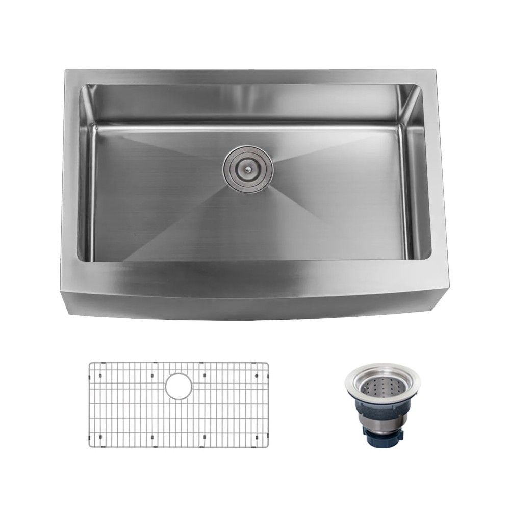 Miseno Mss3320f Farmhouse 33 Single Basin Stainless Steel Kitchen