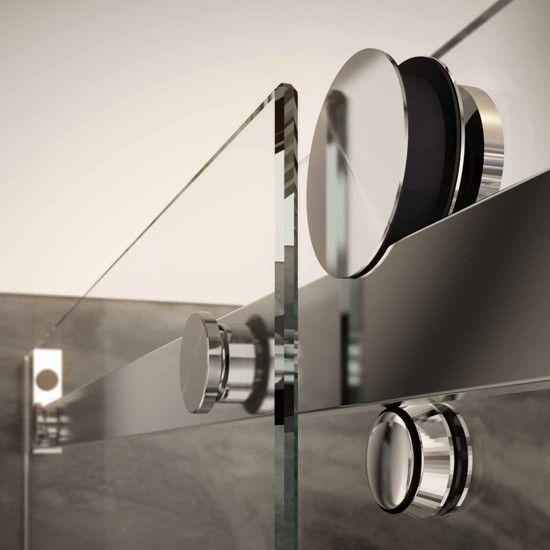 Mampara acero inox frontal de ducha corredera vincent glassinox frente fijo m s puerta - Puerta corredera bano ...