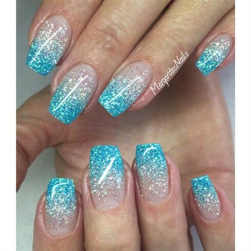 blue and silver glitter gradient