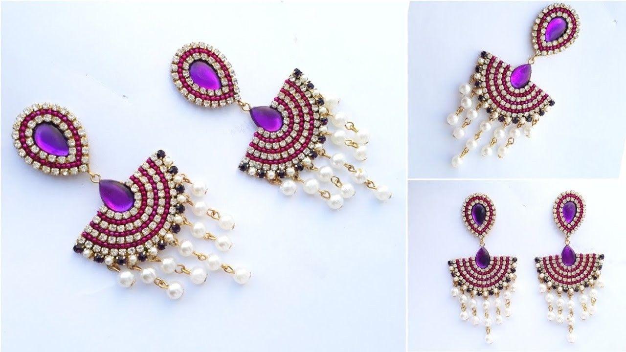 How To Make Designer Pearls Earrings At Home | Paper earrings, Pearl ...