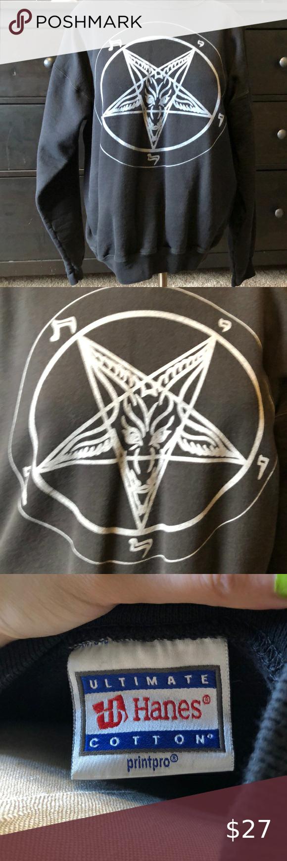 Baphomet Crewneck Sweatshirt Crew Neck Sweatshirt Sweatshirts Sweatshirt Shirt [ 1740 x 580 Pixel ]