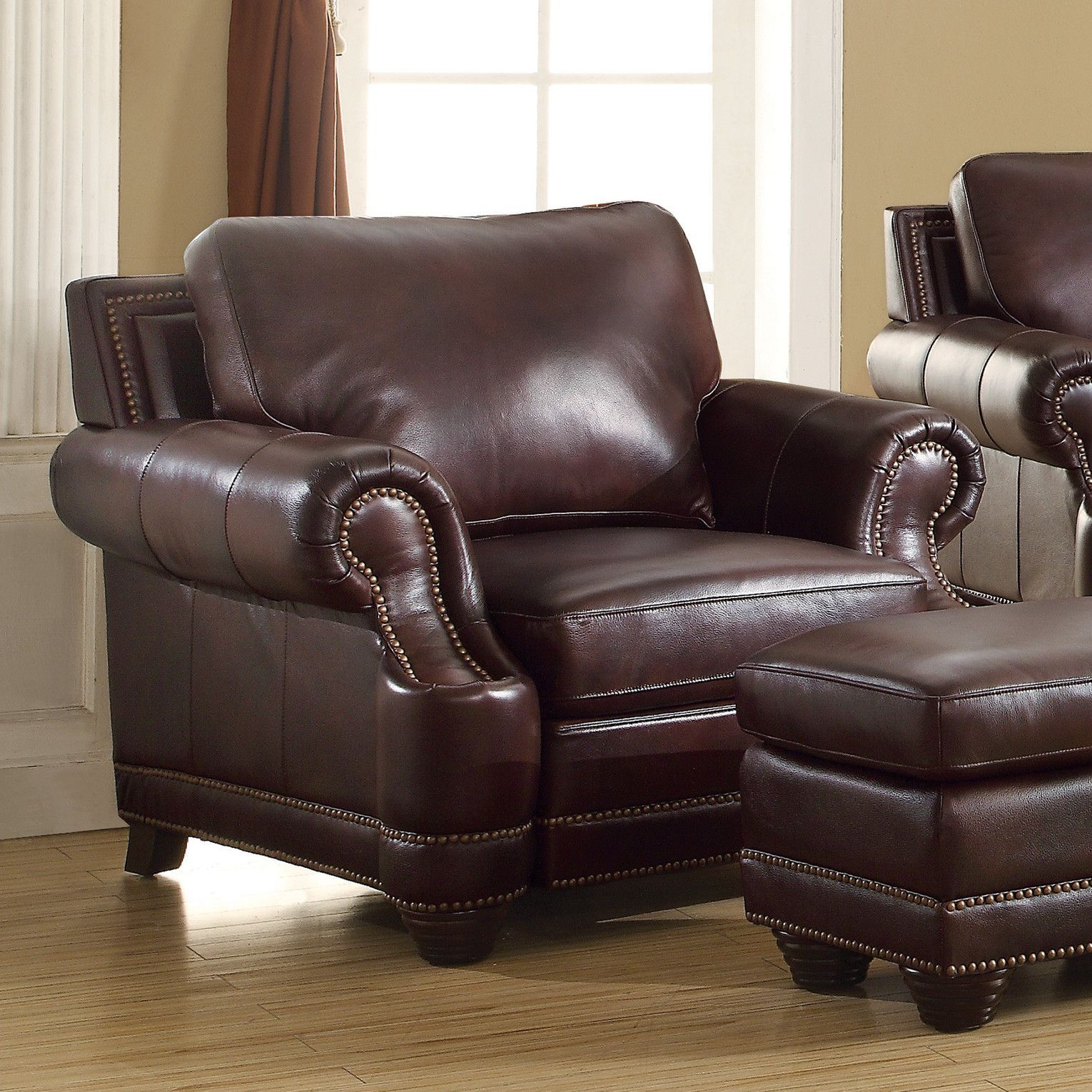 Heywood Armchair and Ottoman Brown leather chairs, Chair