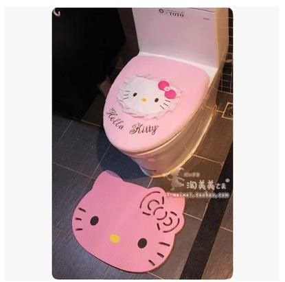 Hello Kitty Cartoon Pink Bow Soft Plush Potty Set Toilet Seat Cover