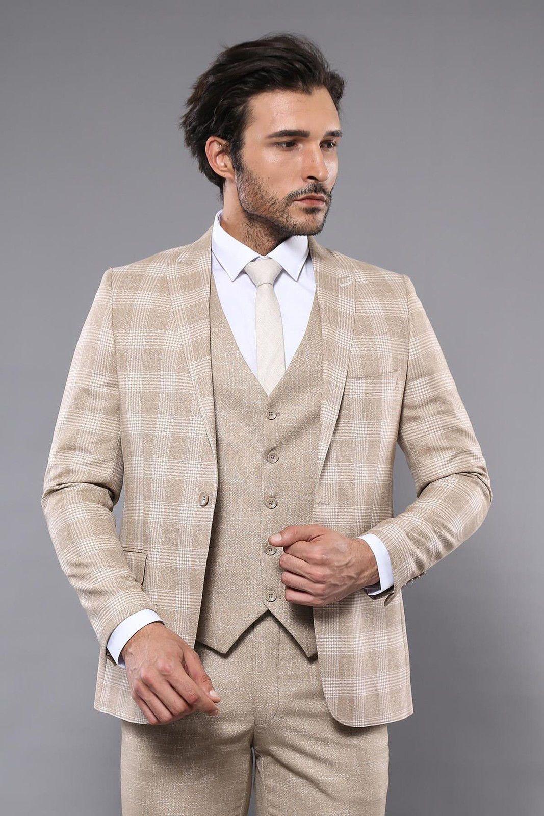 طقم بدلة رسمية بيج بمربعات رجالي Suits Formal Suits Checked Blazer