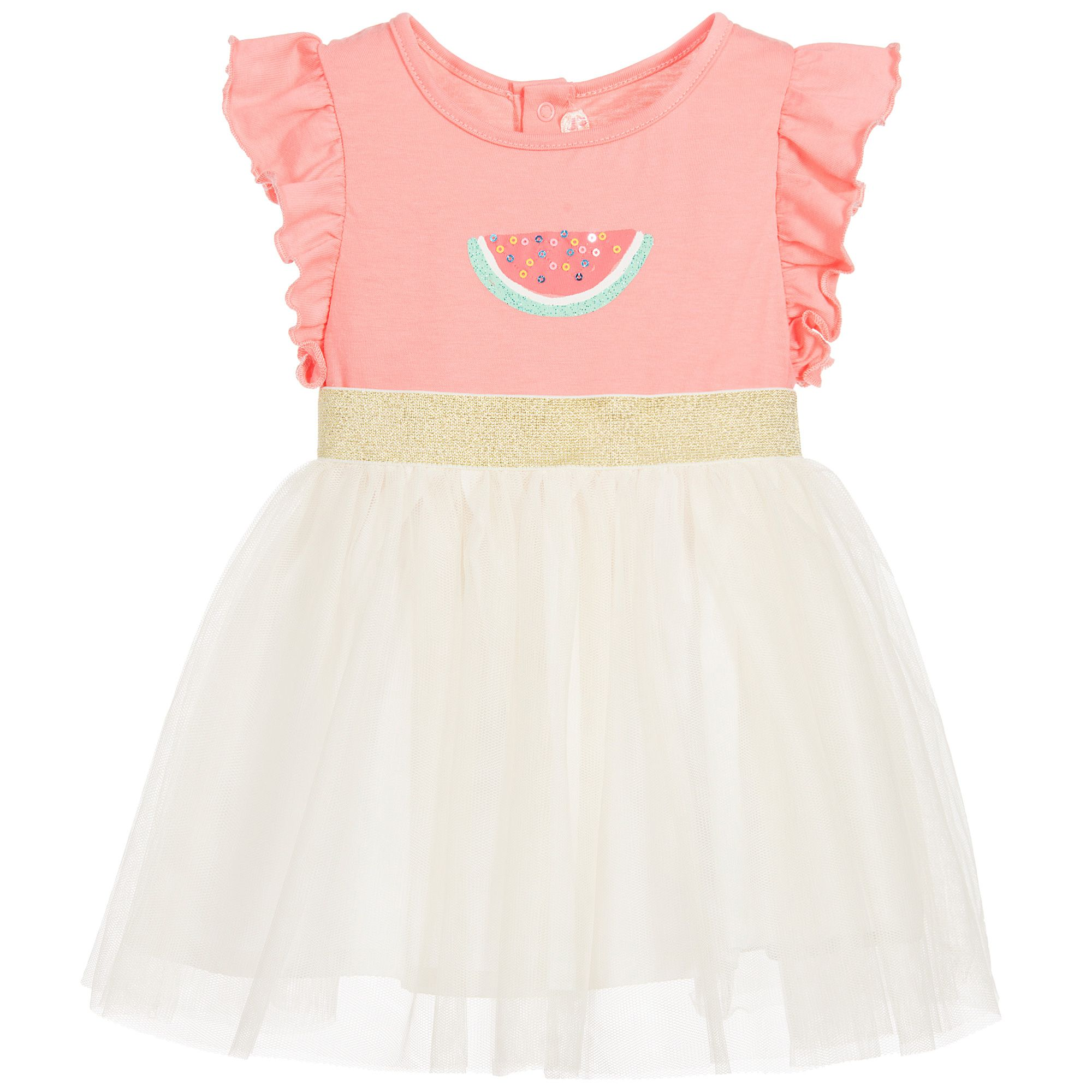 Baby girls pink and ivory dress by Billieblush The bodice is made