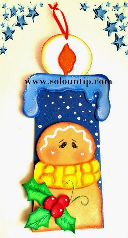 vela.jpg (414×767) | navidad | Pinterest | Velas navideñas, Goma eva ...