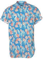 Blue Floral Pattern Short Sleeve Shirt