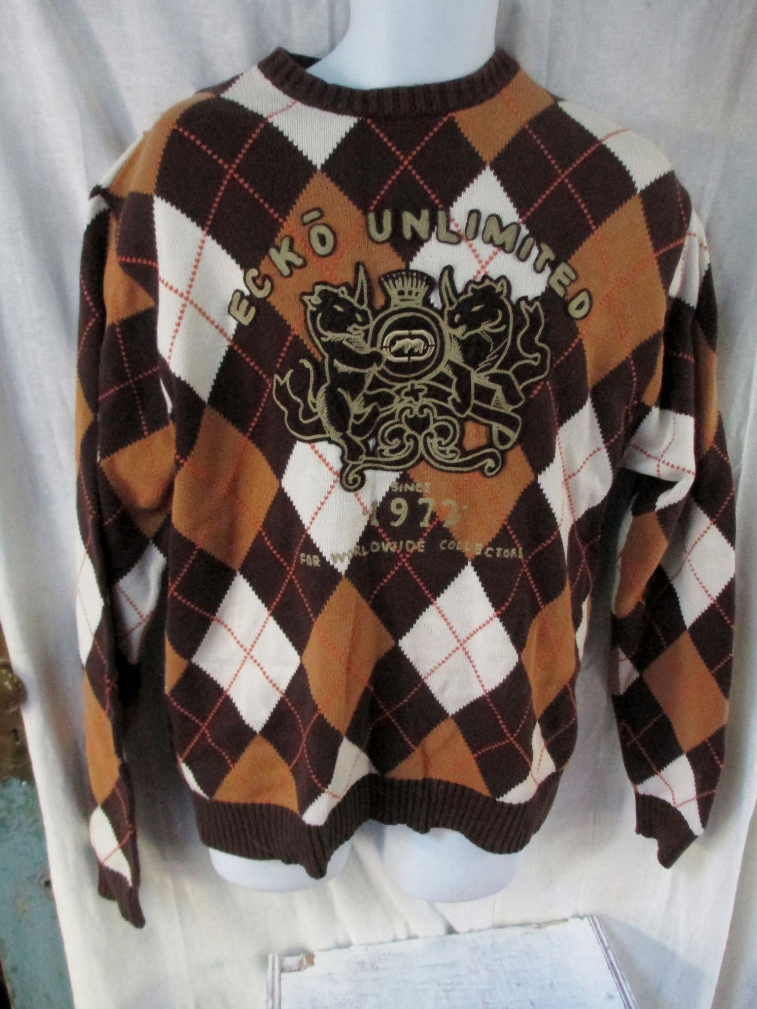 Mens ECKO UNLIMITED Knit Cotton SWEATER TOP Pullover Jackt RHINO ARGYLE BROWN M