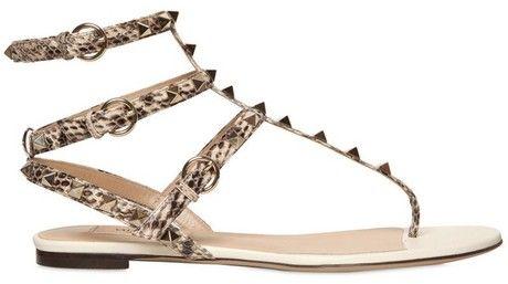 8ba9e82b9 10mm Rockstud Painted Snakeskin Flats - Lyst Rockstud Flats, Valentino  Rockstud, Flip Flop Sandals